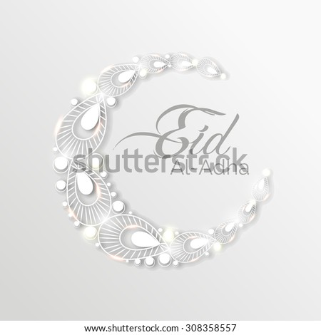 Vector Illustration of a Greeting card template for Muslim Community Festival Eid-Ul-Adha with Moon. - stock vector