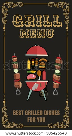 Vector Illustration of a Grill Menu Design Template - stock vector