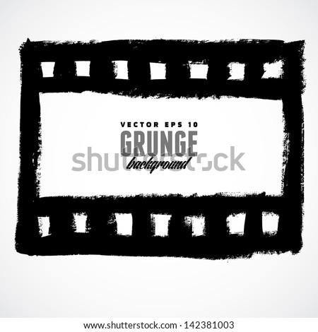 Vector illustration of a grunge filmstrip frame. - stock vector