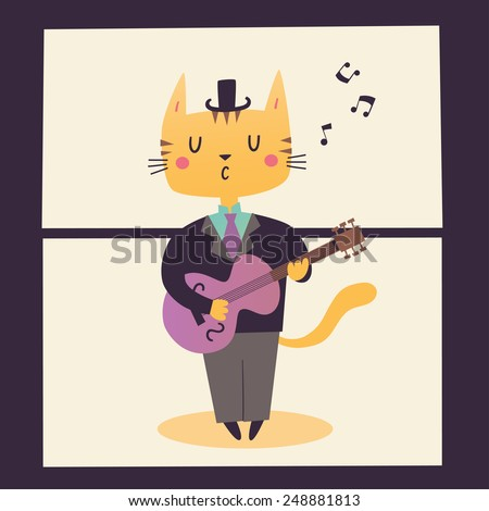 Vector illustration of a guitar player. Cat's professions - stock vector