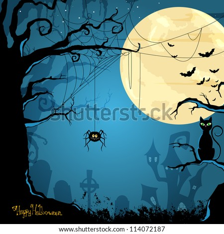 Vector Illustration of a Halloween Background - stock vector