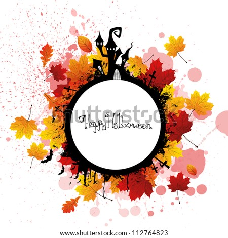 Vector Illustration of a Halloween Background with Leaves - stock vector