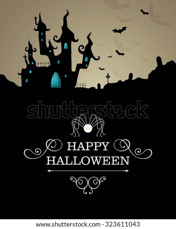 Vector Illustration of a Halloween Background with Scary Castle  - stock vector