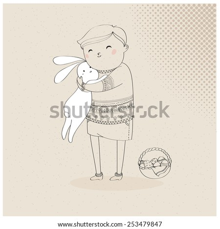 Vector illustration of a hand drawn boy with an Easter rabbit and a basket of eggs, in doodle, sketch style - stock vector