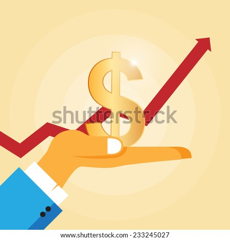 Vector illustration of a hand holding a golden dollar sign with a rising graphic on the background. - stock vector