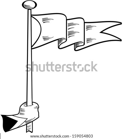 Vector illustration of a hand holding a pennant flag - stock vector