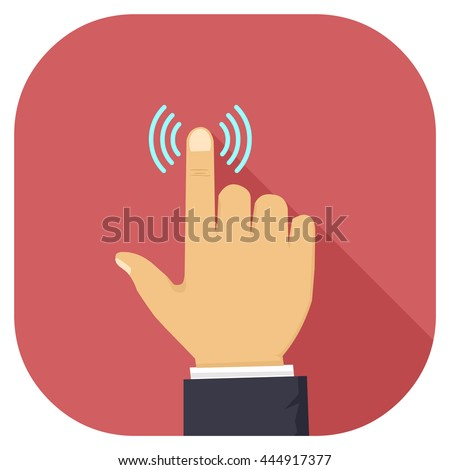 Vector illustration of a hand pressing or touching button internet flat icon. Hand pressing or touching long shadow icon. Finger press gesture. - stock vector