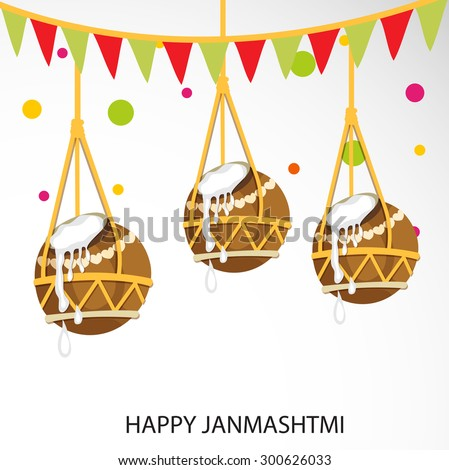 Vector illustration of a hanging pot for Happy Janmashtmi. - stock vector
