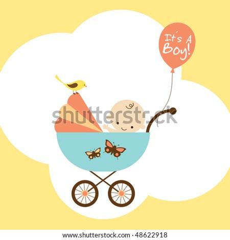 Vector illustration of a happy baby boy in stroller. - stock vector
