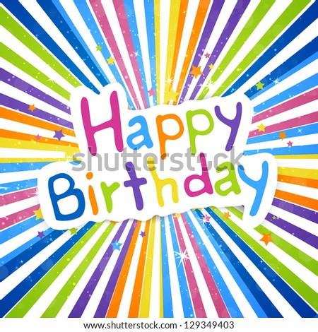 Vector Illustration of a Happy Birthday Greeting Card - stock vector