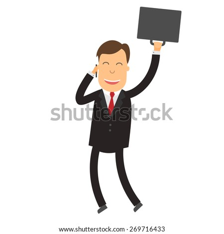 vector illustration of a happy businessman talking on the phone jumps - stock vector
