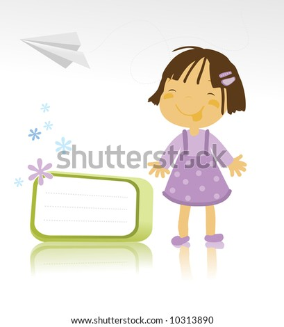 vector illustration of a happy little girl standing and a paper plane on white background - stock vector