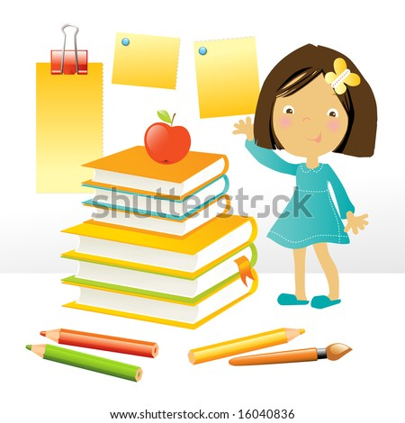 vector illustration of a happy little girl standing by a stack of books and school supplies, on white background - stock vector