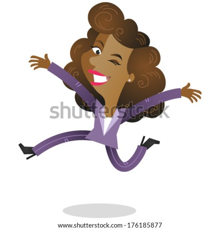 Vector illustration of a happy winking african cartoon business woman jumping with arms open (JPEG version also available in my gallery).  - stock vector