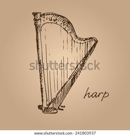Vector illustration of a harp. Sketch.  - stock vector