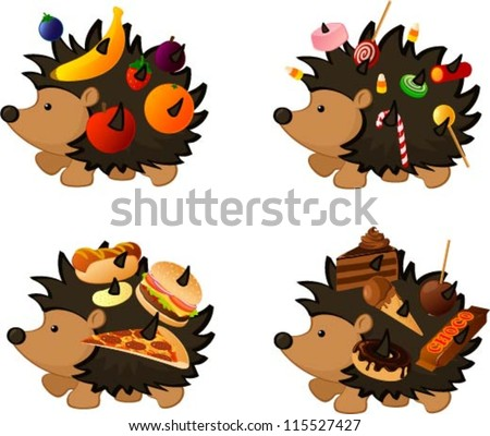 Vector illustration of a hedgehog stealing various food items isolated on white. - stock vector
