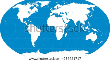 Vector illustration of a High Detail Political Map in blue and white. Earth, longitudes and latitudes and continents are on separate layers. - stock vector