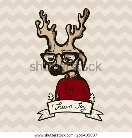 Vector Illustration of a Hipster Deer in a Christmas Sweater - stock vector