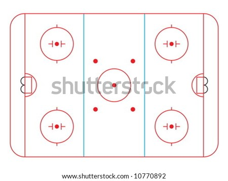Vector illustration of a hockey rink and all markings - stock vector
