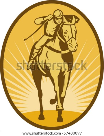 vector illustration of a Horse and jockey racing front view done in woodcut style. - stock vector