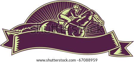 vector illustration of a horse and jockey racing set inside half circle with scroll in front retro woodcut style isolated on white background - stock vector