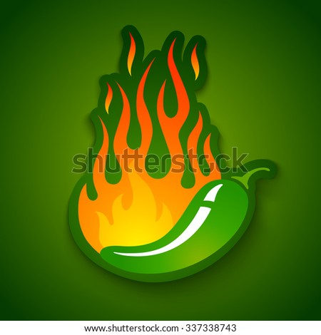 Vector illustration of a hot jalapeno pepper in fire - stock vector