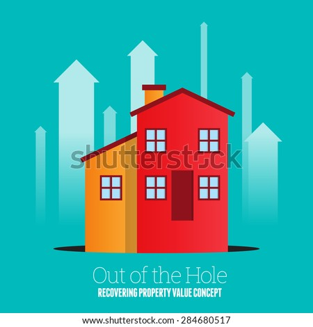 Vector illustration of a house coming out from a black pit hole. - stock vector