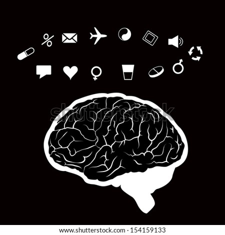 vector illustration of a human brain in work - stock vector