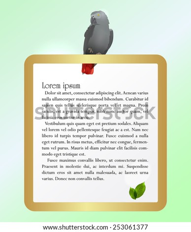 Vector illustration of a Jaco Parrot and golden frame - stock vector