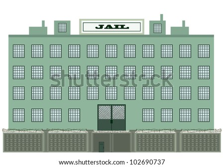 Vector illustration of a jail building - stock vector