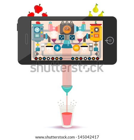 Vector illustration of a juice factory making machine with assembly line in smart phone, Smart phone of magic juice factory - stock vector