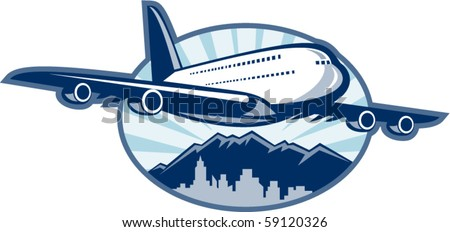 vector illustration of a Jumbo jet plane airliner taking off with city skyline and mountains in the background. - stock vector