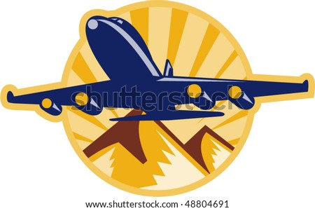 vector illustration of a jumbo jet plane airplane flying with mountains - stock vector