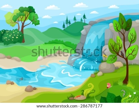 vector illustration of a landscape - stock vector