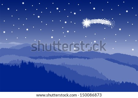 vector illustration of a landscape with a starlit sky with shooting star - stock vector