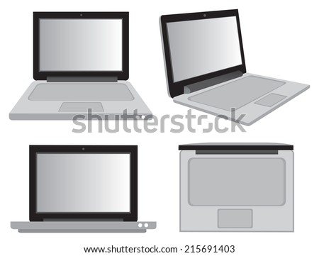 Vector illustration of a laptop computer in different views isolated on white background - stock vector