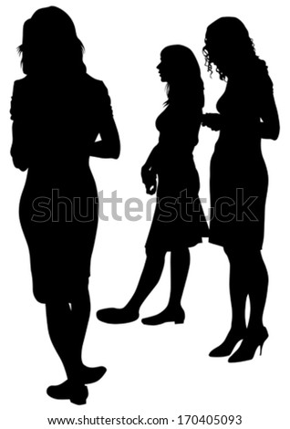 Vector illustration of a large crowd of young girls - stock vector