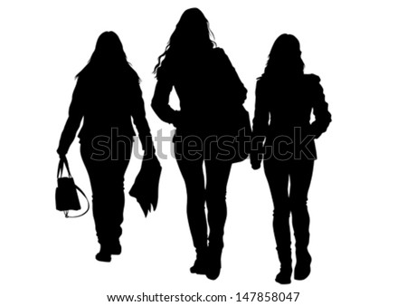Vector illustration of a large crowd of young girls. Property release is attached to the file - stock vector