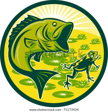 vector illustration of a largemouth bass jumping with frog and lily pads and sunburst in background set inside a circle done in retro woodcut - stock vector