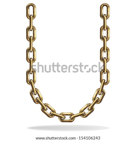 Vector Illustration of a letter U from a gold chain on a white background - stock vector