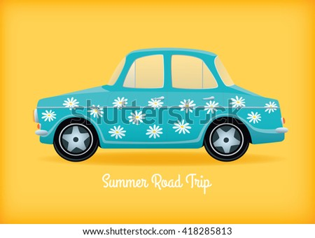 "Vector illustration of a light blue cartoon retro car with white daisies pattern. Text ""Summer Road Trip"". Horizontal format, yellow background. - stock vector"