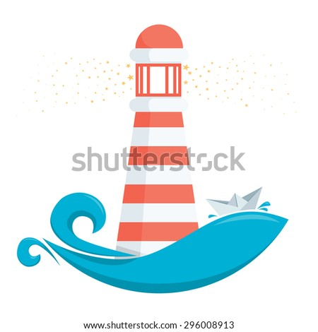 vector illustration of a lighthouse - stock vector