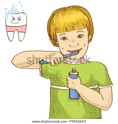 Cartoon boy brushing his teeth