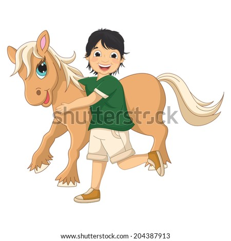 Vector Illustration Of A Little Boy Hugging Pony - stock vector