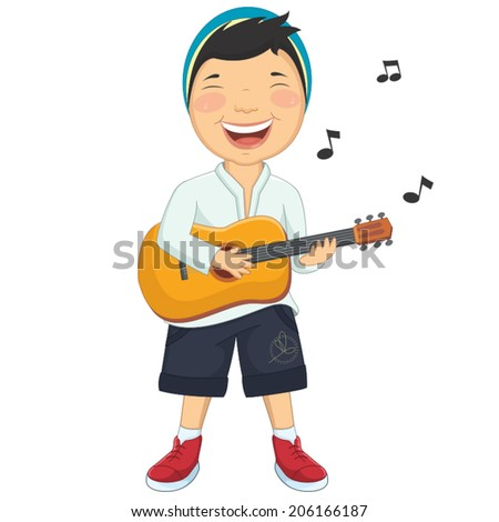 Vector Illustration Of A Little Boy Playing Guitar - stock vector