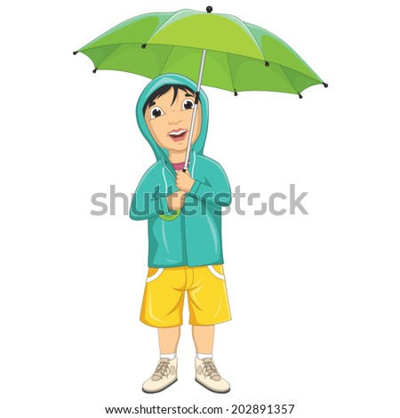 Vector Illustration Of A Little Boy Under Umbrella in Raincoat - stock vector