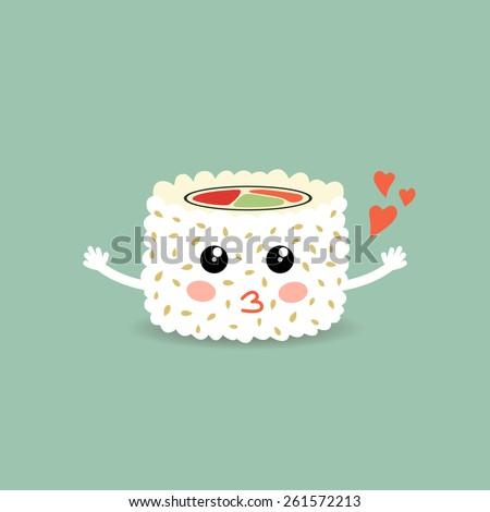 Vector illustration of a love cartoon roll, suchi. Roll California. Philadelphia roll. Cute japanese food. Eps 10 - stock vector