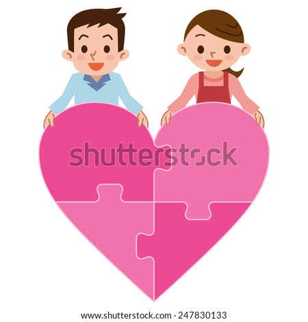 vector illustration of a love puzzle featuring a couple in a heart shape puzzle. - stock vector