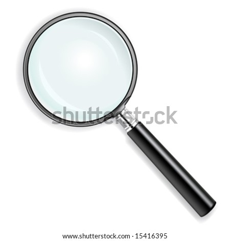 vector illustration of a magnifying glass over white background - stock vector