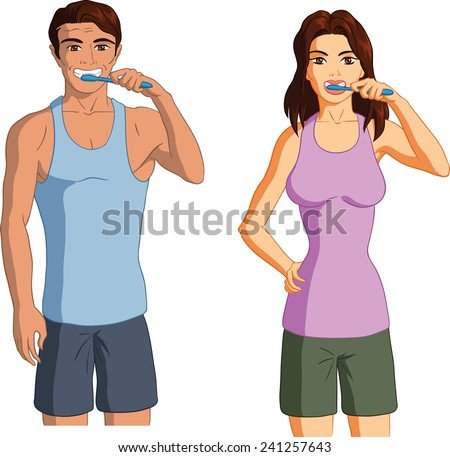 Vector illustration of a man and woman brushing teeth. - stock vector